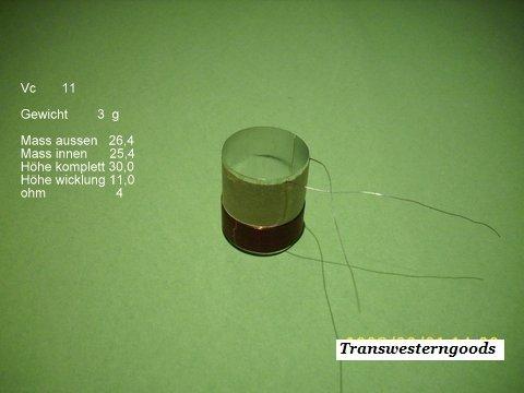 """VC 11  voice coil  25,40 mm   4 OHM – 1,0 """" 1"""