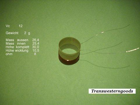 """VC 12  voice coil   25,40 mm   8 OHM – 1,0 """" 1"""