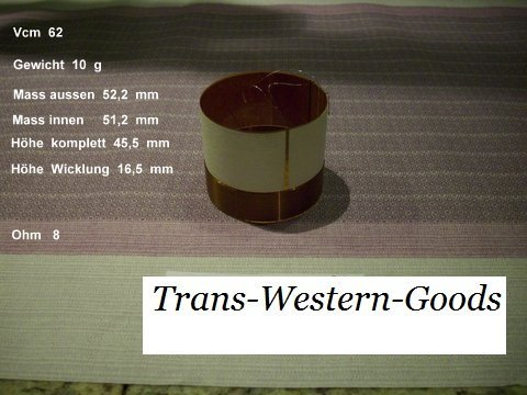 """VCM 62  voice coil   51,20 mm   8 OHM – 2,02 """" 1"""